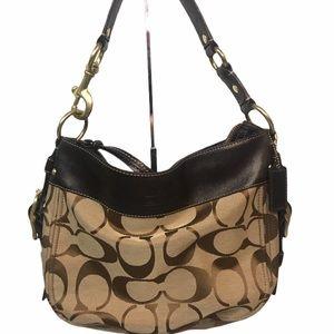 Coach Zoe Brown Leather Monogram shoulder bag